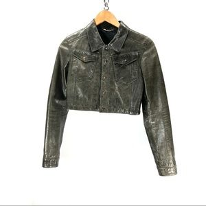 Acne Jeans leather crop top jacket size 34